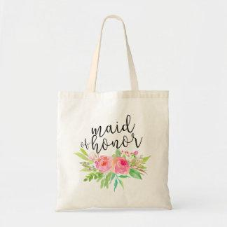 Watercolor Floral Bouquet Maid of Honor Tote Bag