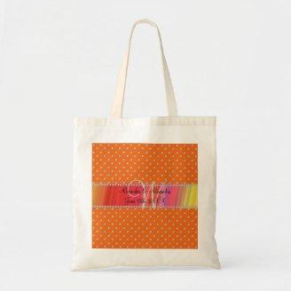 Wedding monogram orange diamonds tote bags