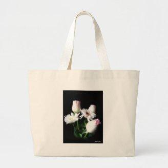 White Chrysanthemums and Roses 4 Canvas Bags