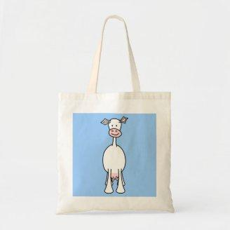 White Cow Cartoon. Blue background. Tote Bag