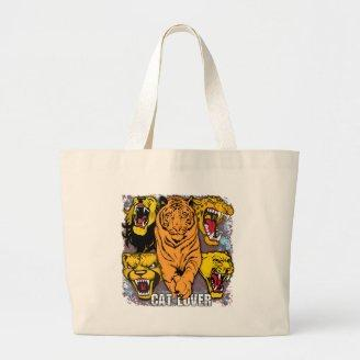Wild Cat Lover Tote Bags