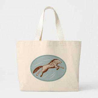 wolf wild dog attacking retro tote bags