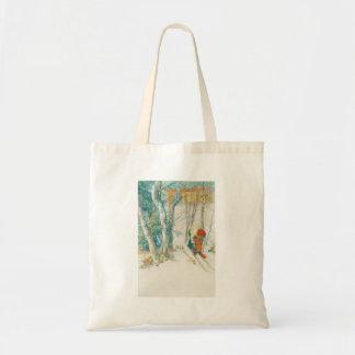 Woman Putting on Skis - Skidloperskan Tote Bags