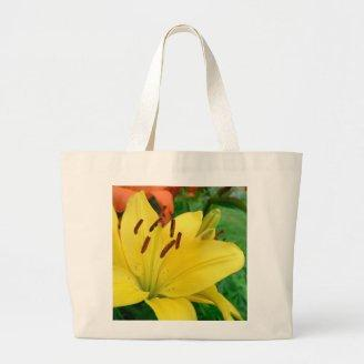 Yellow daylily canvas bags
