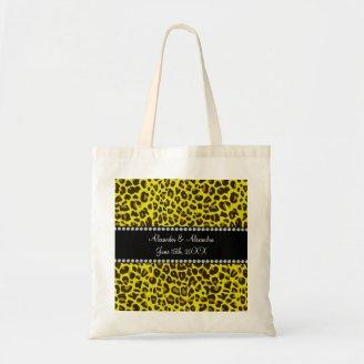 Yellow leopard wedding favors tote bags