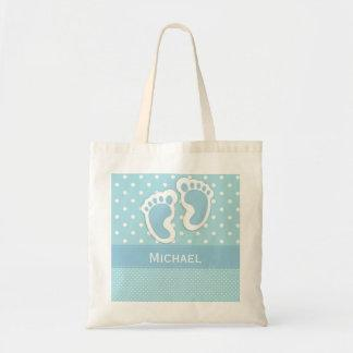Baby Boy Bag Blue Polka Dot Footprint & Name