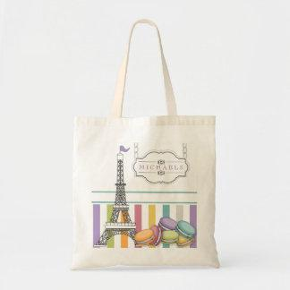 Colorful Paris Macaron Eiffel Tower Monogram Tote Bag