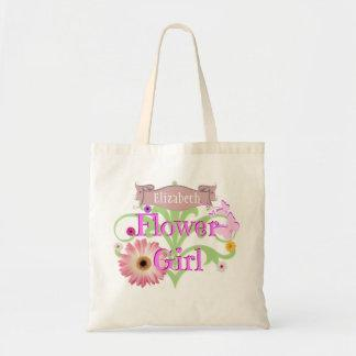 Custom Name Daisy Flower Girl Tote Bag