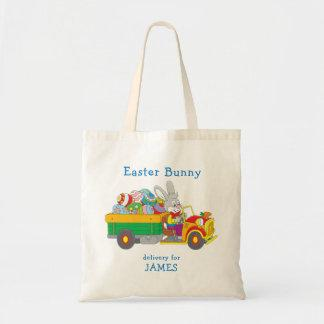 Easter Bunny Delivery Truck Personalized Name Tote Bag
