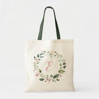Floral Greenery Personalized Monogram Blush Pink Tote Bag