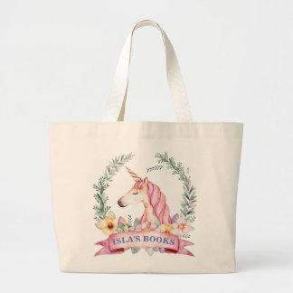 Magical Unicorn with Florals Custom Library Bag