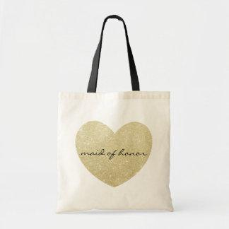 Maid of honor Golden heart Customize Tote Bag