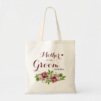 Marsala Red Floral Tote Bag