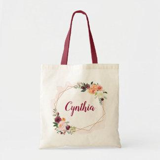 Modern Geometric Gold Frame Floral Bridesmaid Tote Bag