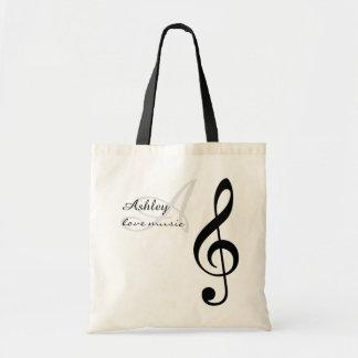 name, initial & black treble clef music tote bag
