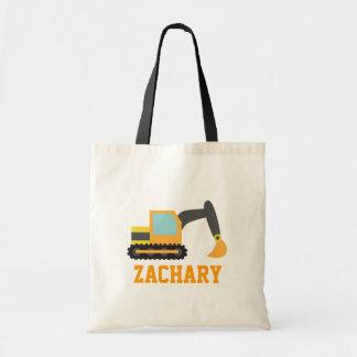 Orange Excavator, Construction Vehicles, for Kids Tote Bag