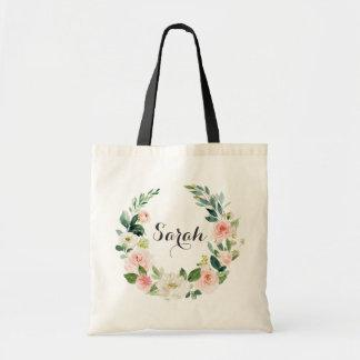 Personalized Floral Blush Greenery Tote Bag