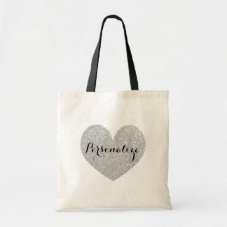 Personalized silver glitter heart design tote bag