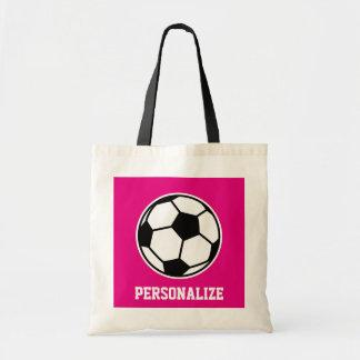 Pink soccer ball tote bag for girls team and coach