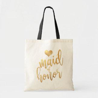 PixDezines Maid of Honor/Faux Gold Script Tote Bag