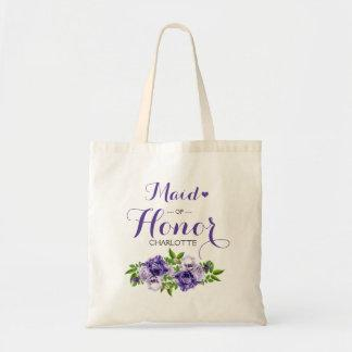 Purple Floral Maid of Honor Tote Bag