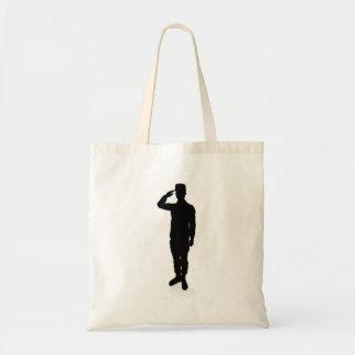 Silhouette Soldier Tote Bag