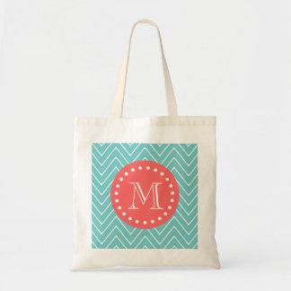 Teal and Coral Chevron with Custom Monogram Bags