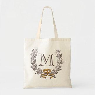 Vintage Wreath Personalized Monogram Initial Tote Tote Bag